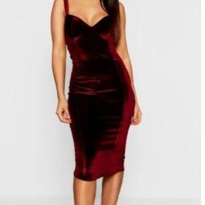 Boohoo Night Velvet Midi Dress, Burgundy, Size 8